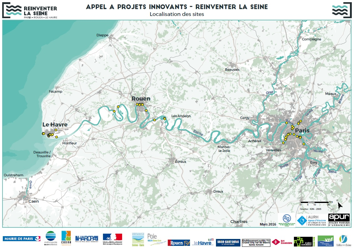 Carte des sites Reinventer la Seine