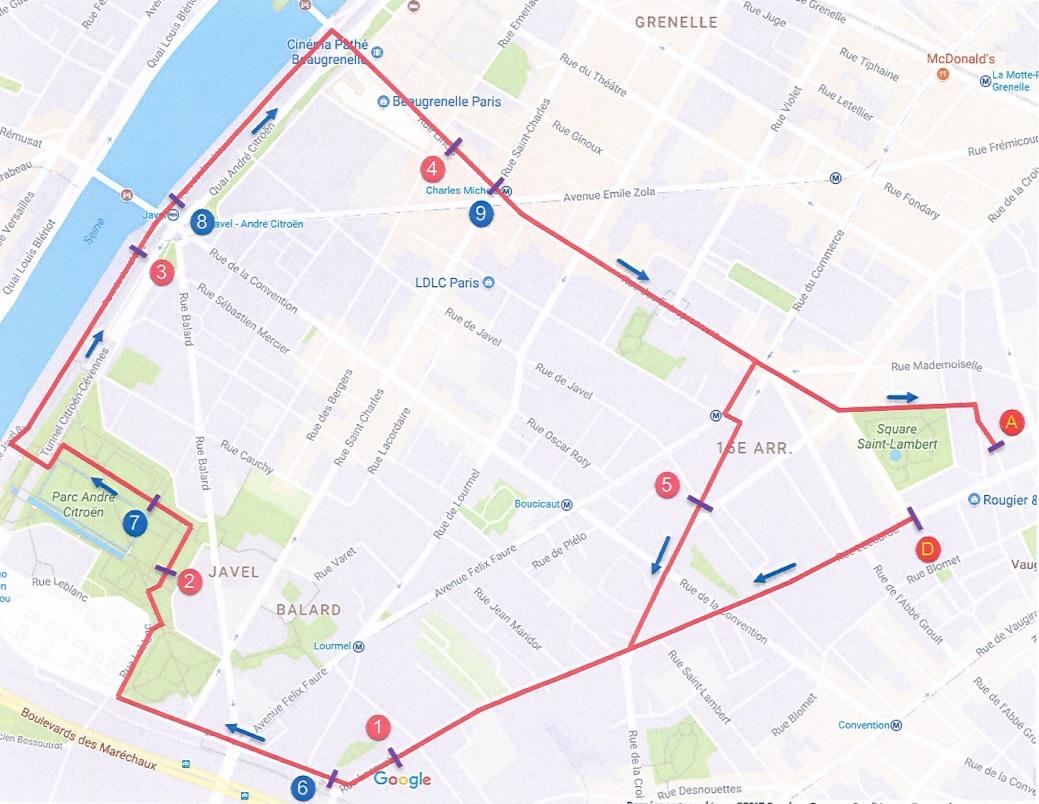 Corrida XV eme 2017 - parcours - paris 15