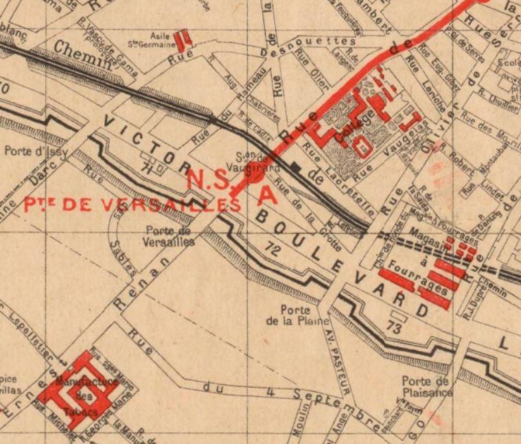 Enceinte de Thiers - Bastions 71-72-73 - plan Paris Hachette