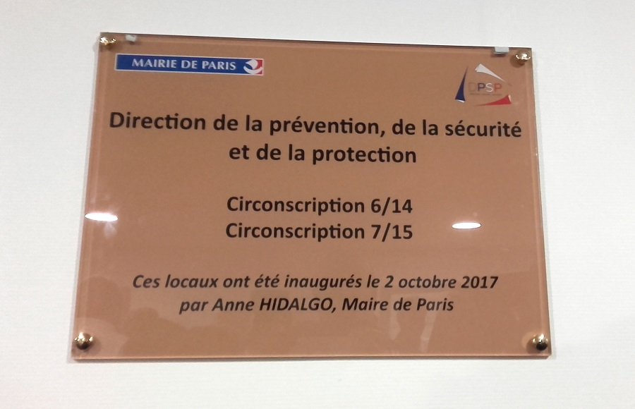 Inauguration DPSP - plaque - Paris 15