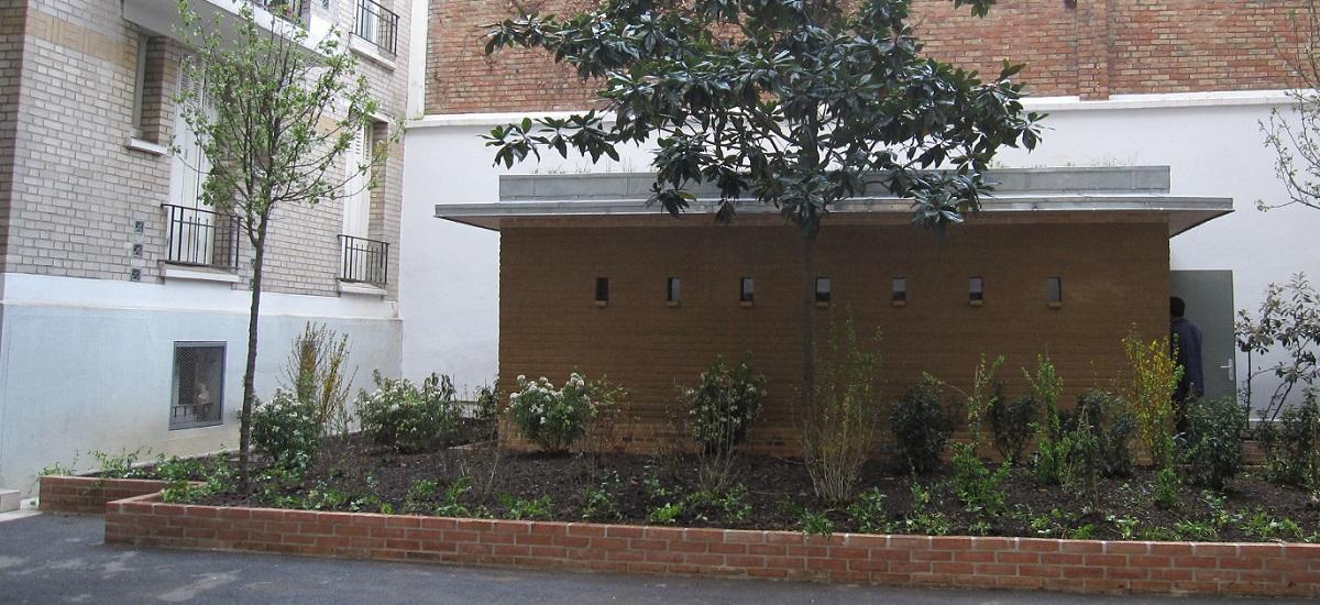 Abri terre cuite Paris Habitat - rue quatre frères peignot - Paris 15ème arrondissement