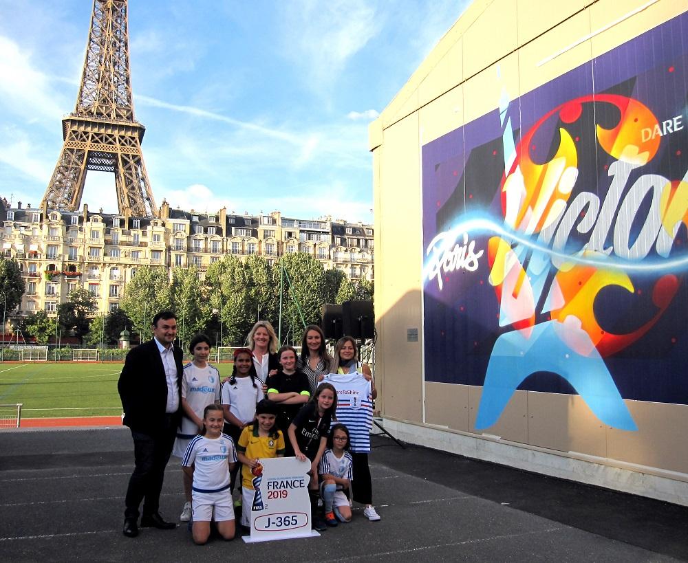 Brigitte Henriques FIFA - Gaetane Thiney - Laure Boulleau - JF Martins - ESPA - Fresque street art Coupe du Monde Football féminin - Paris 15ème arrondissement