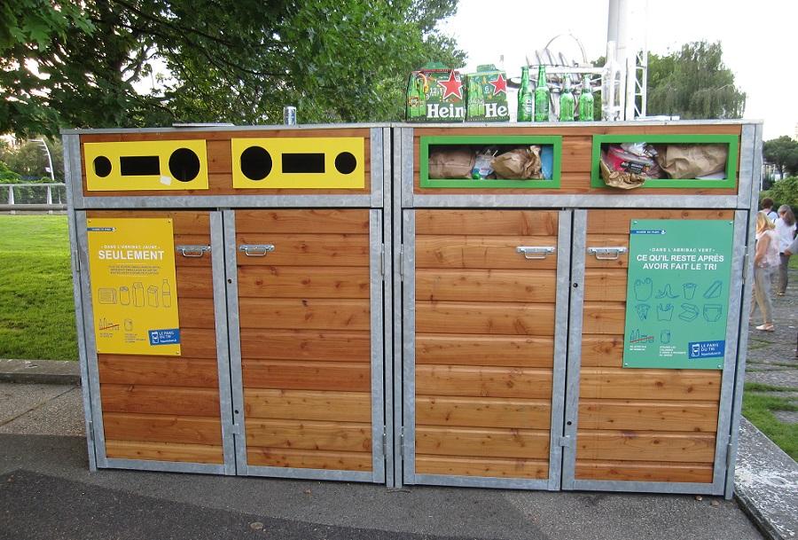 Abris conteneurs poubelle - Jardin Atlantique - Paris 15