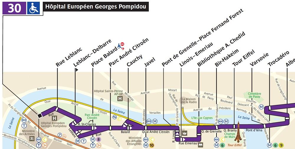 Plan de la Ligne 30 dans son prolongement dans le 15ème arrondissement de Paris