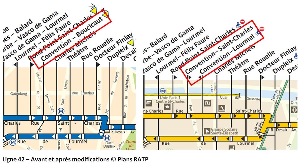 Nouveau plan des bus parisiens - 20 avril 2019 - Ligne 42 modifications - Paris 15