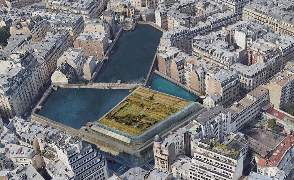 Chai subaquatique - vue dessus - réservoirs de Passy - Paris 16